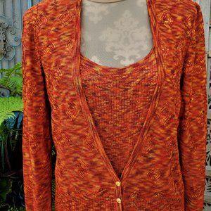 St.John Sport Orange Knit Sweater Set